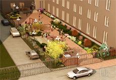 Дизайн двора многоэтажного дома