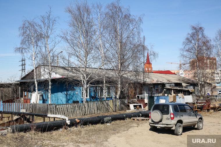 Балки. Сургут, временное жилье, балок, католический костел, поселок ЦКПРС
