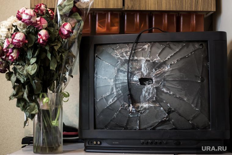 Клипарт, телевизор, долги, ревность, бытовуха, разгром, ссора, засохший букет, увядший, разбитый