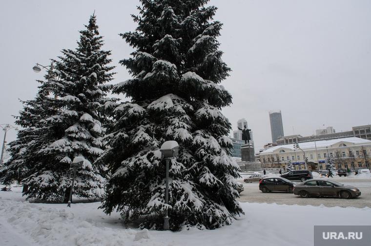 Клипарт, разное. Екатеринбург, ель, осень, площадь 1905года, ноябрь