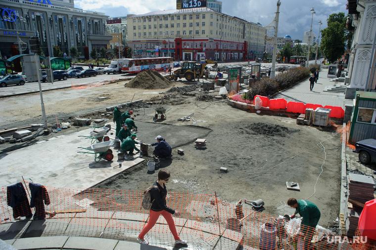 Виды Екатеринбурга, ремонт дорог, дорожные работы, строительные работы, площадь1905 года, екатеринбург, проспект ленина