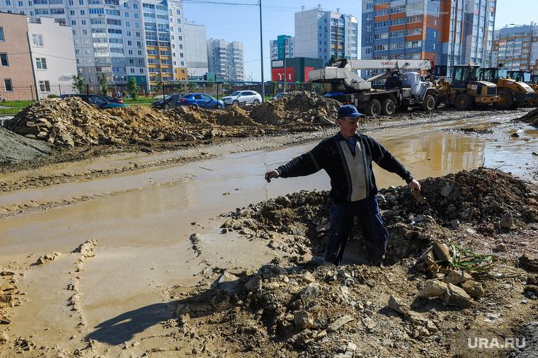 Новостройки. Челябинск, яма, новостройки, жкх, стройка, грязь, дорога