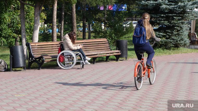 Клипарт. Челябинск. Парк Гагарина, инвалид, инвалид-колясочник