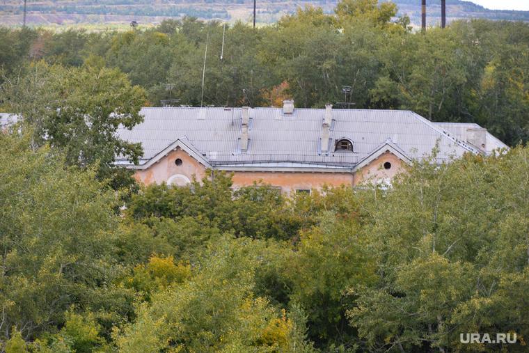 Коркино. Роза. Челябинск., крыша, деревья, коркино, дом в зелени
