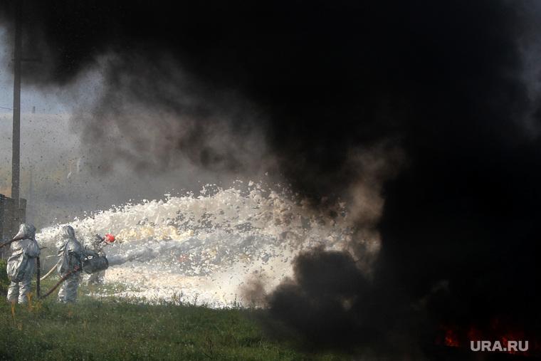 Учения МЧС на ТЭЦКурган, тушение пожара