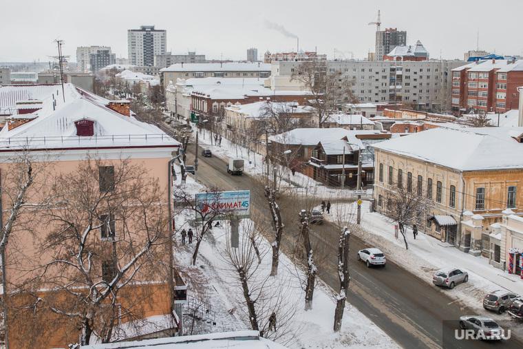 Курган, вид сверху, улица куйбышева, курган, город зимой
