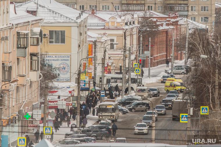 Курган, вид сверху, улица куйбышева, курган, движение транспорта, город зимой