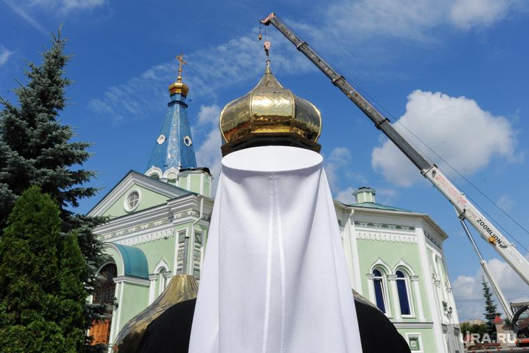 Освящение новых куполов Свято-Симеоновского храма. Челябинск, купол храма