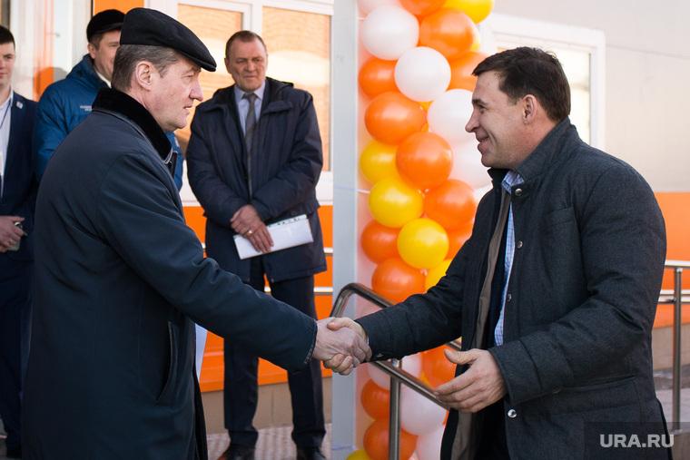 Торжественное открытие новой ледовой арены. Свердловская область, Реж, рукопожатие, козицын андрей, куйвашев евгений
