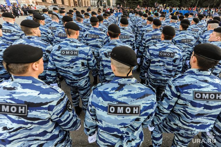 Генеральная репетиция парада Победы на Площади революции. Челябинск, омон, силовики, строй