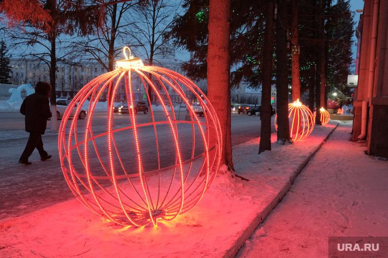 Правительство Курганской области, новый год, иллюминация, шар у правительства