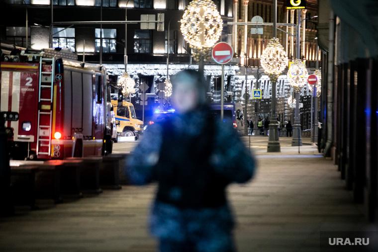 Лубянская площадь после проишествия со стрельбой у здания ФСБ России. Москва