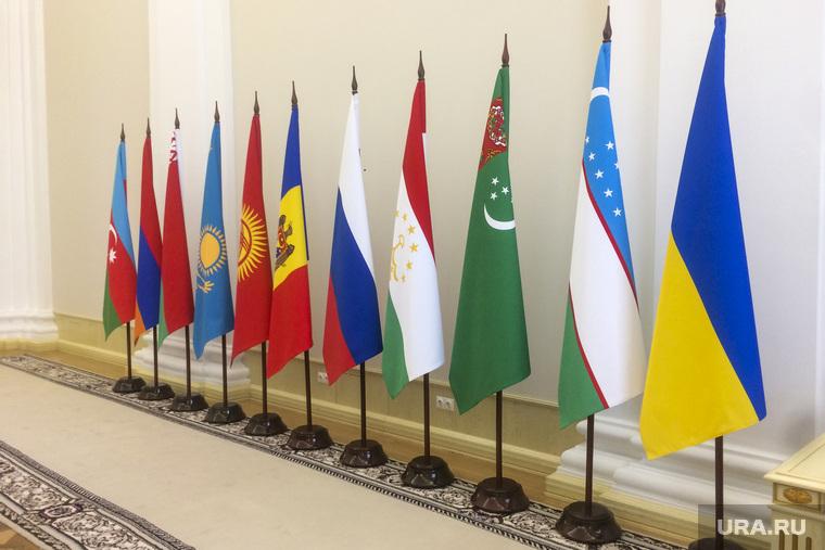 Флаг Украины на Заседание Межправительственного совета по сотрудничеству в строительной деятельности. Тюмень