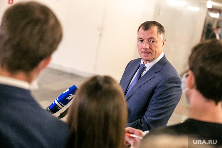 Марат Хуснуллин на пресс-подходе после селекторного совещания в Доме Правительства. Москва