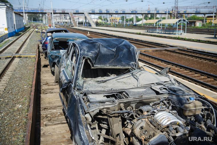 Агитпоезд РЖД по безопасности на железнодорожных переездах. Екатеринбург, хлам, металлолом, мусор