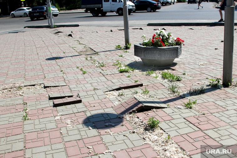 Штаб по благоустройству города. Курган, сломанная тротуарная плитка