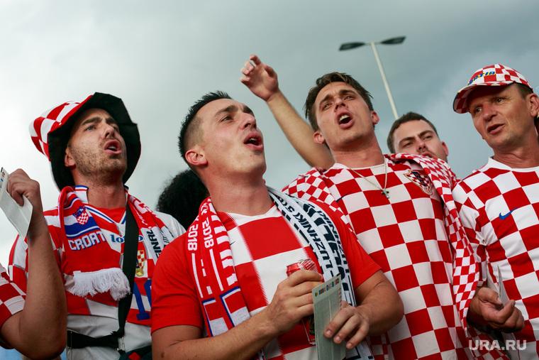 """Стадион """"Лужники"""" перед матчем полуфинала Чемпионата Мира FIFA 2018 Англия-Хорватия. Москва, хорватские болельщики"""