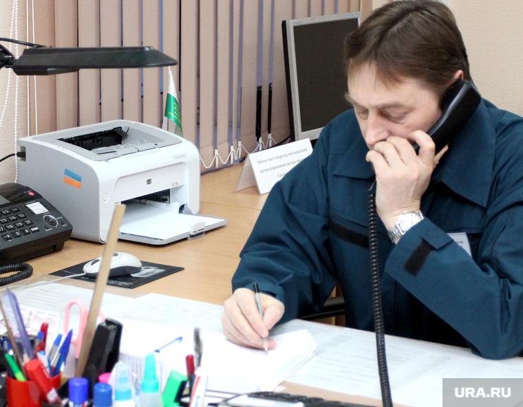 Открытие Единой диспетчерской службы города Кургана, диспетчер, разговор по телефону, дежурный, телефонная трубка