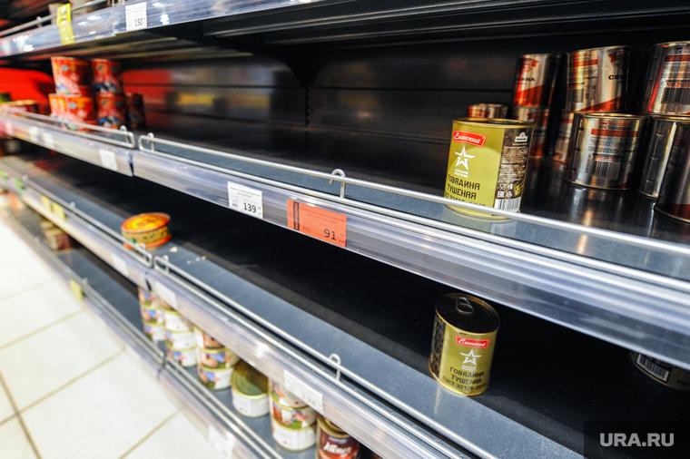 Ситуация в супермаркете Spar на фоне ажиотажа связанного с эпидемией коронавируса. Челябинск
