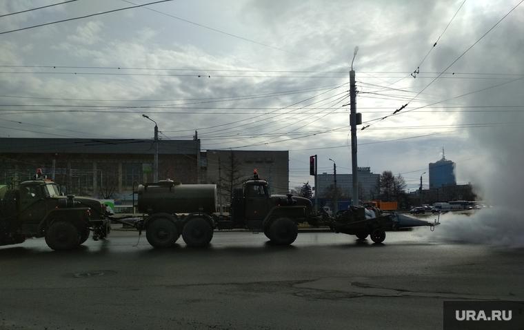 Дезинфиция улиц от коронавируса. Челябинск