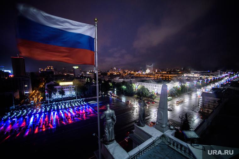 Световое шоу ко Дню России на Площади 1905 года. Екатеринбург