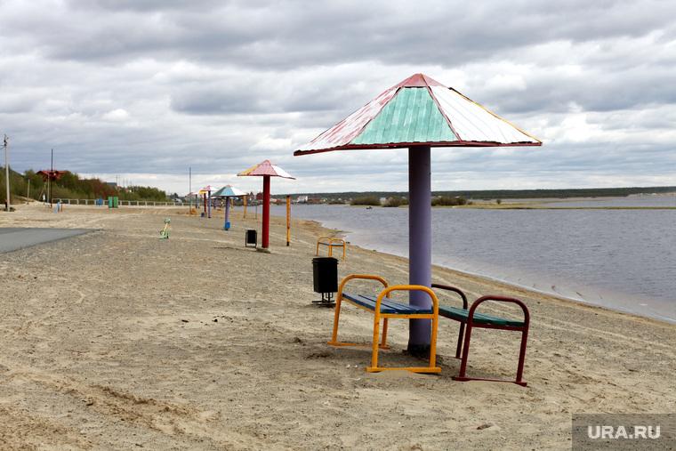 Клипарт. ЯНАО , река, берег, пляж, водоем, отдых на природе, песок, пустой, лето