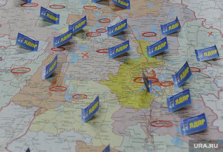 Штабы и Избирком Челябинск, карта, лдпр