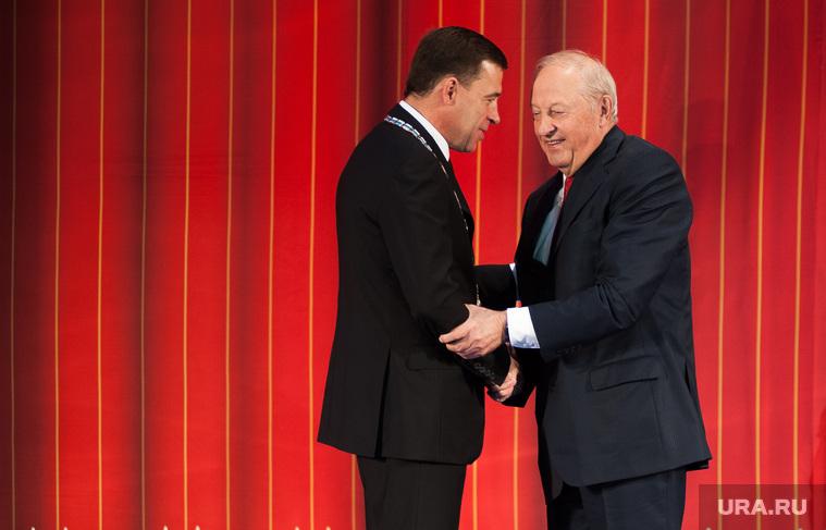 Официальная церемония вступления Евгения Куйвашева в должность губернатора Свердловской области. Екатеринбург, рукопожатие, россель эдуард