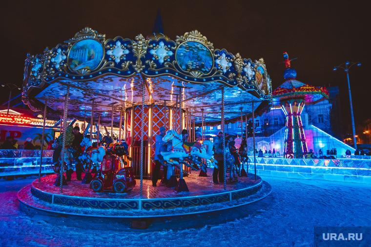 Открытие ледового городка. Екатеринбург, карусели, ледовый городок, люди, новый год, праздник