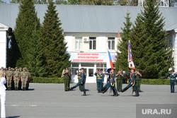 День 90-й гвардейской танковой дивизии в Чебаркуле, почетный караул, вынос знамени