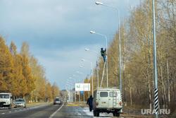 Обзор гостевого маршрута к приезду Путина. Челябинск, дорога в аэропорт, столбы освещения, фонарные столбы