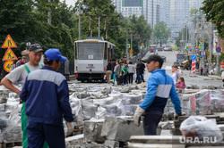Виды Екатеринбурга, ремонт дорог, дорожные работы, трамвай, строительные работы, трамвайная остановка, проспект ленина
