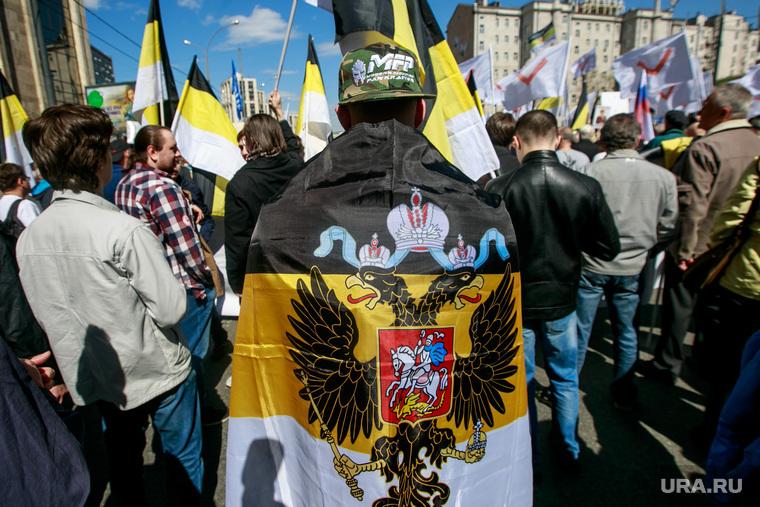 5-ая годовщина Болотной площади. Митинг на проспекте Сахарова. Москва, имперский флаг, двуглавый орел, националисты