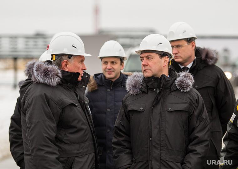 Церемония ввода в эксплуатацию комплекса месторождений Эргинского кластера в Кондинском районе. Ханты-Мансийск  , сечин игорь, медведев дмитрий