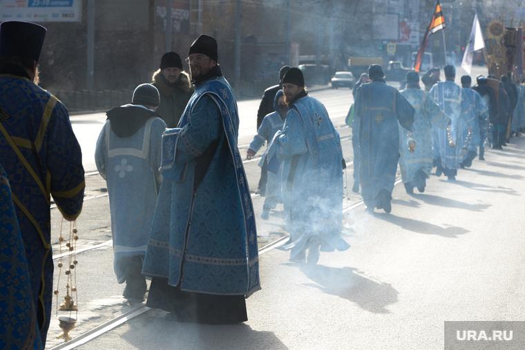 Крестный ход в Челябинске, дым, вера, попы, крестный ход, смог, рпц, атмосфера, религия, ладан