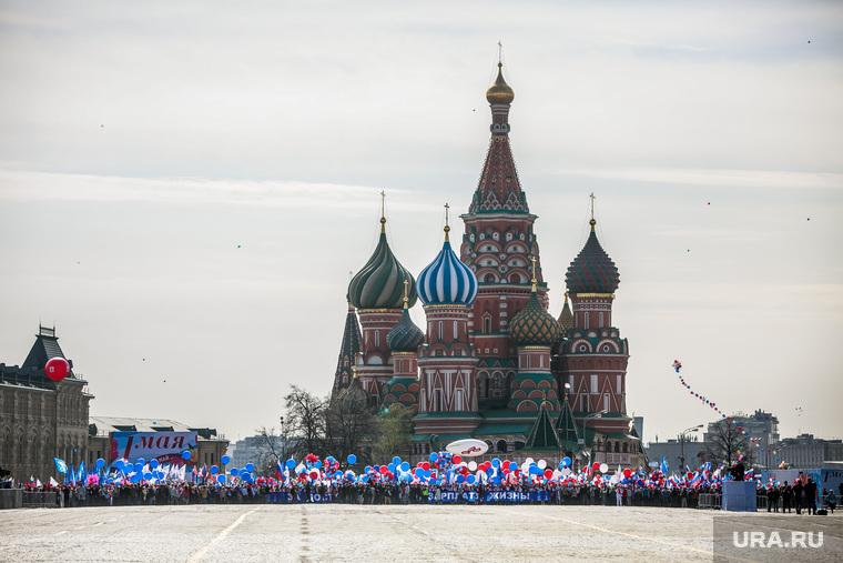 Первомайская демонстрация профсоюзов на Красной площади. Москва, первомай, собор василия блаженного, первомайская демонстрация
