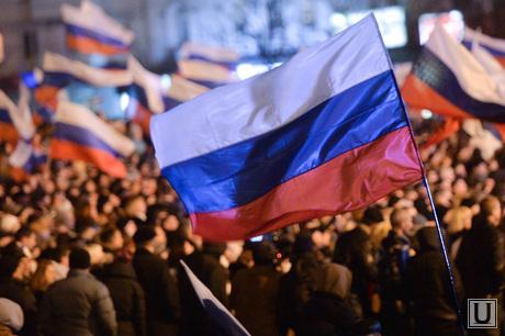 Крым. Референдум., митинг, толпа, российский флаг