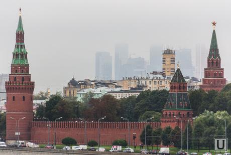 Клипарт. Москва. Сентябрь 2013 год, москва, кремль, туман, москва-сити