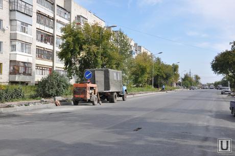 Ремонт дорог Курган. Сентябрь 2014 года , улица бажова, ремонт дорог курган