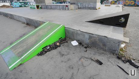 Подземный магазин у памятника Курчатову. Стройка. Челябинск, пандус