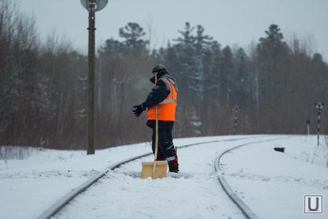 Клипарт. Север., уборка снега, дворник, железная дорога, пути, жд