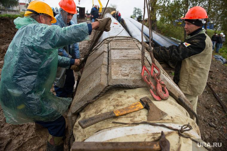 Строительство Нижне-туринская ГРЭС., трубопровод, строительство, рабочие