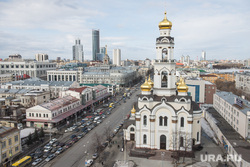 """Екатеринбург с крыши """"Рубина"""", улица 8марта, мытный двор, храм большой златоуст"""