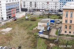 Строительство на пустыре за библиотекой Челябинск, строители, пустырь