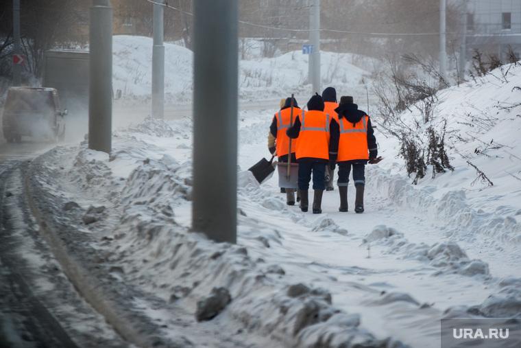 Клипарт., уборка снега, дворники, зима