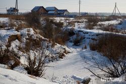 Последствия предполагаемого  выброса химикатов в реку Молчанку. Деревня Молчаново. Тюменский район, лед на реке, река молчанка, застывшая река, деревня молчаново