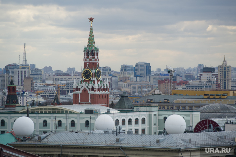 Виды. Москва, спасская башня, город москва, кремль