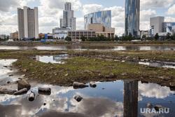 Вид Екатеринбурга с обмелевшего пруда, мусор, город екатеринбург, екатеринбург сити, грязь, экология, засорение