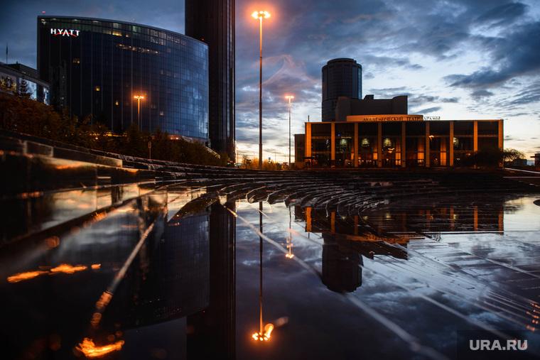 Вечер в Екатеринбурге, клипарт, октябрьская площадь, город екатеринбург