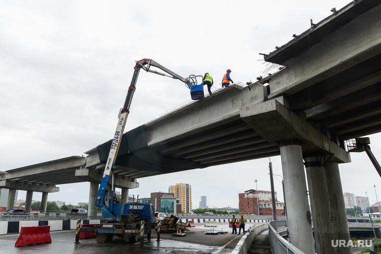Строительство объектов к саммитам ШОС и БРИКС. Челябинск, мост, стройка, строительство, виадук, развязка